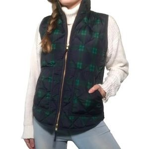 J CREW PLAID QUILTED PUFFER VEST